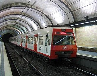 Ferrocarrils de la Generalitat de Catalunya - FGC train (111 series) in Barcelona.