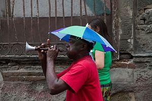 Trompeta china - Frontman with trompeta china of the Conga de Tivoli in Santiago de Cuba