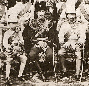 1890 in Russia - Tsesarevich Nicholas Alexandrovich in Siam with Crown Prince Maha Vajirunhis (left) and King Chulalongkorn (right), March 1891
