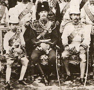 Eastern journey of Nicholas II - Tsesarevich Nicholas Alexandrovich in Siam with Crown Prince Maha Vajirunhis (left) and King Chulalongkorn (right), March 1891
