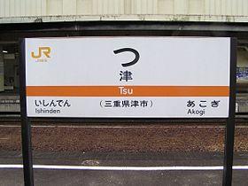 世界一短い駅名標( JR 津駅 )