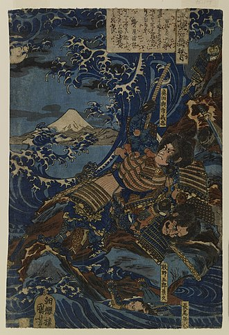 Battle of Ishibashiyama - A 19th century depiction of combat on the rocky shore at Ishibashiyama