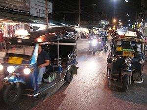 Transport in Thailand - Tuk-tuks are one mode of public transport in Bangkok and other cities in Thailand.