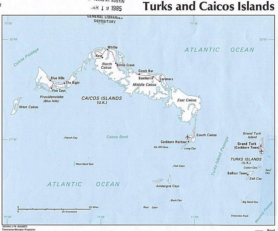Turks and Caicos Islands 1976 CIA map