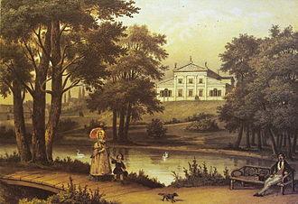 Tuskulėnai Manor - Drawing of the Tuskulėnai Manor in 1848