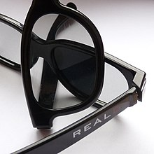 f3a15ac488 Two pairs of RealD glasses demonstrating the polarization effect