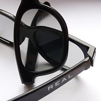 RealD 3D - Two pairs of RealD glasses demonstrating the polarization effect