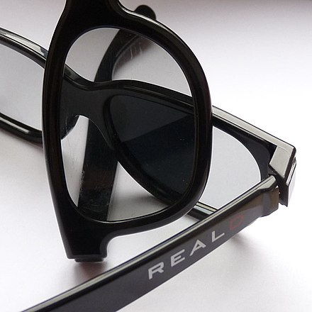 Two pairs of RealD glasses demonstrating the polarization effect
