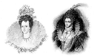 Two Portraits of Queen Elizabeth, Illustrating Wide Ruff and Headress- Elizabethan People (book).jpg