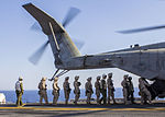 U.S. Marines assigned to Battalion Landing Team 3-2, 26th Marine Expeditionary Unit (MEU), board a CH-53E Super Stallion assigned to Marine Medium Tiltrotor Squadron (VMM) 266 (Reinforced), 26th MEU, to conduct 130630-M-SO289-004.jpg