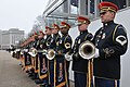 U.S. Soldiers with the U.S. Army Herald Trumpets stand below the presidential reviewing stand during a dress rehearsal for the presidential inaugural parade in Washington, D.C 130113-A-EB958-063.jpg