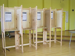 A polling booth in the New Forest for the UK v...