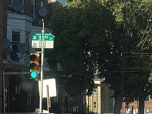 U.S. Route 13 in Pennsylvania - US 13 along 33rd Street in Philadelphia
