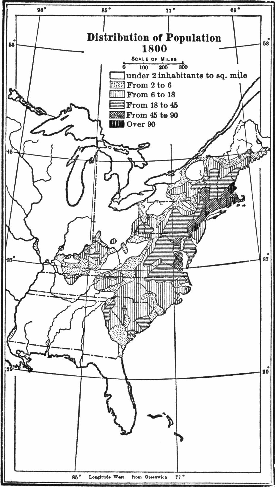 USA population distribution 1800