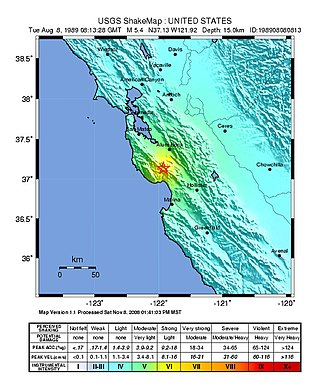 1989 Loma Prieta earthquake - USGS ShakeMaps showing similar intensity patterns for the June 1988 (left) and August 1989 events near Lake Elsman in the Santa Cruz Mountains