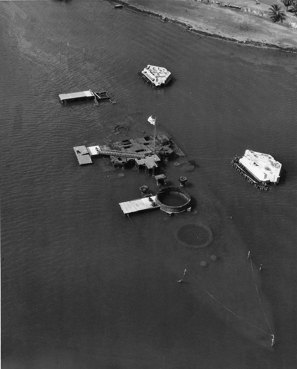 USS Arizona (BB-39) wreck in the 1950s