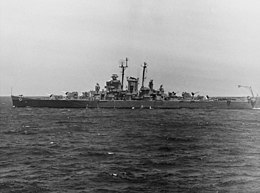 USS Fargo (CL-106) underway at sea on 8 May 1946 (NH 98918).jpg