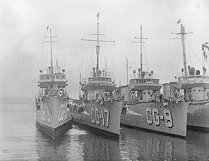 USS Paulding (DD-22) - Circa 1924-1930 on Coast Guard service. (L-R) USCG Jouett (CG-13) ex. (DD-41), USCG Paulding (CG-17) ex. (DD-22) and USCG Beale (CG-9) ex. (DD-40).