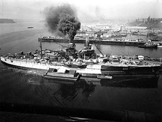 USS Utah (BB-31) - Utah being painted as her 1941 overhaul nears completion.