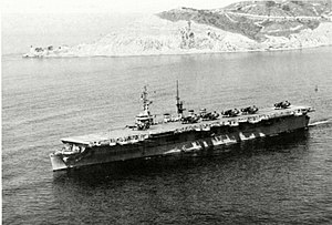 USS Wright (CVL-49) - Image: USS Wright (CVL 49) underway in the early 1950s