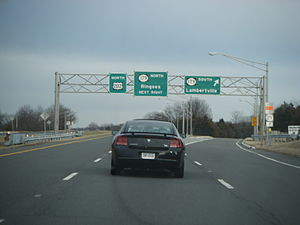 U.S. Route 202 in New Jersey - U.S. Route 202 northbound at the Route 179 interchange in Ringoes.