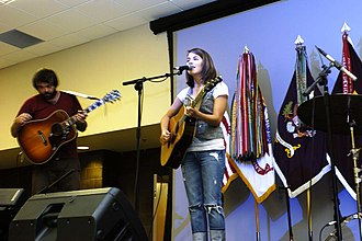 Bethany Dillon - Dillon performs at a Patriot Day ceremony at Fort Gillem in 2009.