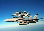 """US Navy 020710-N-1955P-003 F-A-18 """"Hornet"""" strike fighters from Carrier Air Wing One Seven (CVW 17).jpg"""