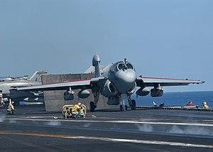 VAQ-137 - VAQ-137 EA-6B preparing for a catapult launch from USS Enterprise