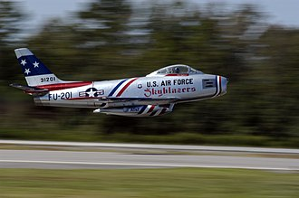 Bubble canopy - Image: US Navy 040925 N 0295M 091 Retired U.S. Navy Capt. Dale Snodgrass takes off in his Korean War era F 86 Sabre