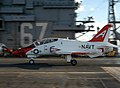 US Navy 051213-N-2541H-001 An T-45C Goshawk, assigned to the Eagles of Training Squadron Seven (VT-7), makes an arrested landing.jpg