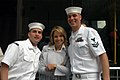 US Navy 060526-N-9543M-001 Today Show host Katie Couric takes a moment to greet Fire Controlman 1st Class Jeremy Millspaugh and Fire Controlman 2nd Class Chris Perras during a commercial break at the CBS Studios in New York.jpg
