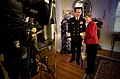 US Navy 061215-N-0696M-037 Chief of Naval Operations (CNO) Adm. Mike Mullen, his wife Deborah and dog Gracie tape a holiday greetings message for broadcast around the world on American Forces Networks.jpg