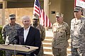 US Navy 070419-M-0948M-014 Secretary of Defense (SECDEF), the Honorable Dr. Robert M. Gates speaks to members of the press in the Battle Square of Camp Fallujah, Iraq.jpg