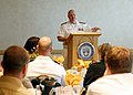 US Navy 071001-N-7163S-001 Rear Adm. Edward Masso, commander of Navy Personnel Command, speaks on leadership to faculty, staff, and students at the University of St. Thomas Opus College of Business.jpg