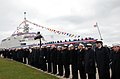 US Navy 081108-N-9269B-098 Sea Cadets stand in formation as the crew of the littoral combat ship USS Freedom (LCS 1) mans the rails during her commissioning ceremony at Veterans Park in Milwaukee, Wis.jpg