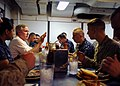 US Navy 090803-N-1831S-188 ecretary of the Navy (SECNAV) the Honorable Ray Mabus eats lunch with Sailors and embarked Marines from the 22nd Marine Expeditionary Unit (22nd MEU) during a visit to the amphibious dock landing ship.jpg