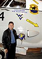 US Navy 100329-N-5416W-009 West Virginia Governor, Joe Manchin III stands with a custom-painted C-2A Greyhound from the Rawhides of Fleet Logistics Support Squadron (VRC) 40.jpg