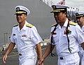 US Navy 100608-N-7498L-164 Rear Adm. Dixon Smith greets Rear Adm. Tomohisa Takei before boarding JS Kashima (TV 3508).jpg