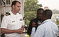 US Navy 110718-N-XK513-074 Lt. Cmdr. Charles Eaton, officer in charge of High Speed Vessel Swift (HSV 2), answers questions from a local news agenc.jpg