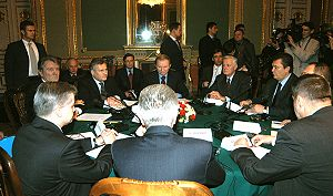 Foreign electoral intervention - Round table talks with Ukrainian and foreign representatives during the Orange Revolution on 1 December in Kiev.