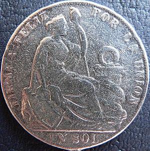 Firme y feliz por la unión - 1889 silver coin engraved with Firme y feliz por la unión