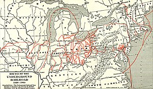 Whole map of the underground railroad.