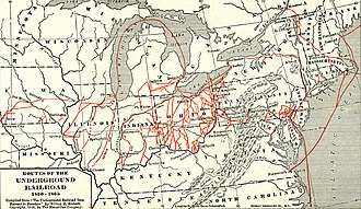 Underground Railroad - Map of various Underground Railroad escape routes in the Northern United States and Canada