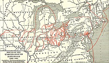 English: Whole map of the underground railroad...