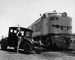 Union Pacific GTELs - First generation GTEL and a 1923 electric auto in Fremont, Nebraska in 1953.