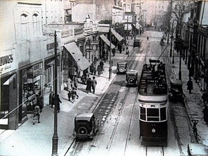 Plymouth Blitz - Union Street before World War II showing trams