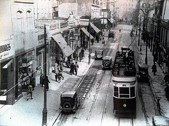 Plymouth Blitz - Union Street before World War II showing trams