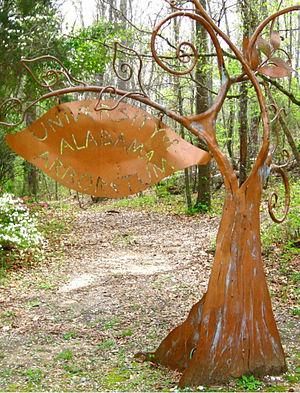 "University of Alabama Arboretum - Copper ""tree"" sign at the entrance to the arboretum."