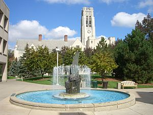 University of Toledo - University Hall sits behind Centennial Mall in the foreground.