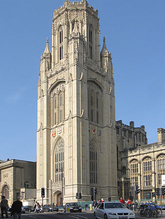 University of Bristol - The Wills Memorial Building (Schools of Law and Earth Sciences) on Park Street, Bristol. The tower was cleaned in 2006–2007.